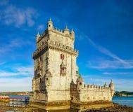 Härlig forntida Belem tornpanoramautsikt på solnedgången, Lissabon Royaltyfri Fotografi