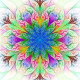 Härlig fractalblomma i blått, grönt och rött. Arkivbilder