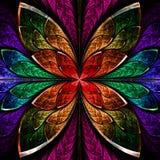 Härlig fractalblomma i blått, grönt och rött Arkivfoto