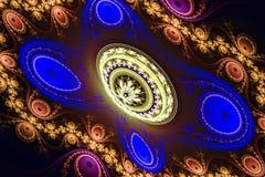 Härlig fractaltapetsvart och färgrika geometriska former illustrerar galaxen eller stor fest för explosion för frekvens för utrym vektor illustrationer