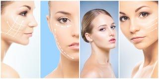Härlig framsida av den unga och sunda flickan i collagesamling Plastikkirurgi, hudomsorg, skönhetsmedel och lyfta för framsida arkivbild
