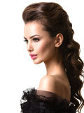 Härlig framsida av en ung sexig kvinna med långa hår Fotografering för Bildbyråer