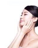 Härlig framsida för kvinna för hudomsorg Fotografering för Bildbyråer