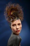 Härlig framsida för modekvinnafärg royaltyfri foto