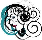 härlig framsidaillustrationkvinna Vektor Illustrationer