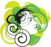 härlig framsidaillustrationkvinna Royaltyfri Illustrationer