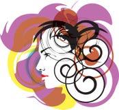 härlig framsidaillustrationkvinna Stock Illustrationer