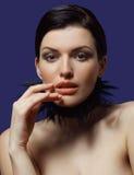 härlig framsidakvinnlig Fotografering för Bildbyråer