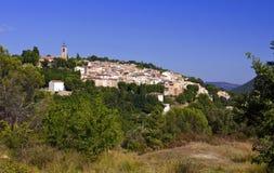 Härlig fransk bergby av Bagnols en Foret Royaltyfria Bilder
