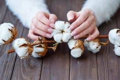Härlig fransk manikyr och bomullsblomma Fotografering för Bildbyråer