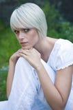 Härlig fridfull ung blond kvinna royaltyfria foton