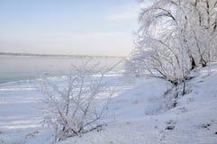 Härlig frostig vinterdag på floden Arkivbild