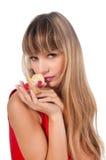 Härlig fundersam kvinna med blomman Royaltyfri Fotografi