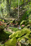 Härlig gångbana i Balineseträdgården, Bali, Indonesien Royaltyfria Foton