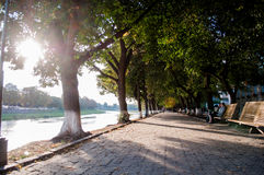 Härlig gångbana längs floden Arkivbilder