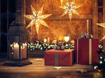 Härlig gåva med julprydnader framförande 3d Royaltyfria Bilder