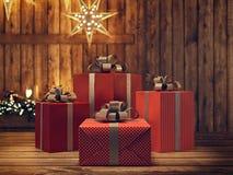 Härlig gåva med julprydnader framförande 3d Arkivfoto