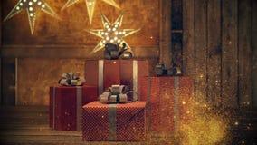 Härlig gåva med julprydnader framförande 3d lager videofilmer