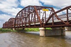 Härlig gammal järnbro på gamla Route 66 Arkivbilder