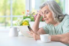 Härlig gammal kvinna som läser en tidning Royaltyfria Bilder