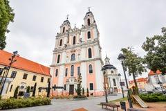 Härlig gammal kyrka av St Catherine, Vilnius, Litauen Royaltyfri Bild