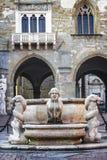 Härlig gammal springbrunn i mitten av Bergamo i Italien Arkivbild