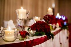 Härlig garnering av brölloptabellen Royaltyfria Bilder