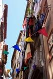 Härlig gata i Lissabon, Portugal Arkivbild
