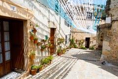Härlig gata i Valldemossa med traditionell blommagarnering, berömd gammal medelhavs- by av Majorca royaltyfri foto