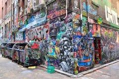 Härlig gatakonst i hosieren Lane Melbourne arkivfoto