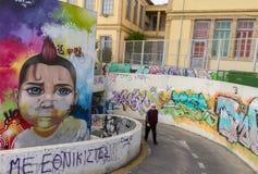 Härlig gatakonst nära gammal Nicosia för Phaneromeni kyrka stad c Fotografering för Bildbyråer