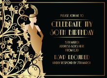Härlig Gatsby Art Deco Style Birthday Invitation design royaltyfri illustrationer