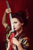 Härlig geisha i kimono royaltyfri fotografi