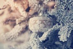 Härlig glass boll på julgranen Arkivfoton