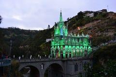 Härlig gothical kyrka av Las Lajas, i Ipiales, Colombia Royaltyfri Foto