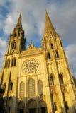 Härlig gotisk domkyrka i Chartres, Frankrike arkivbild