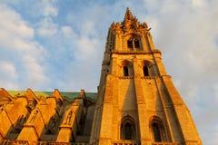 Härlig gotisk domkyrka i Chartres, Frankrike royaltyfri foto
