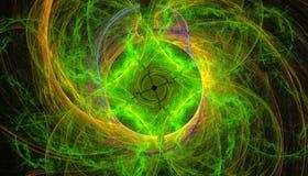 Härlig grön bakgrund av glödande partiklar och linjer med djup av fältet och bokeh 3d illustrationen, 3d framför vektor illustrationer
