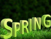 Härlig grön bakgrund med en stor vårinskrift i formatet 3d stock illustrationer