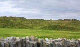 Härlig grön golfbana i lantliga Irland Arkivfoton