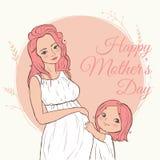härlig gravid kvinna lyckliga mödrar för dag också vektor för coreldrawillustration Fotografering för Bildbyråer