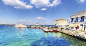 Härlig grekisk ö, Spetses Arkivfoto