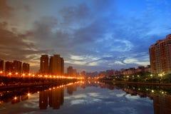 Härlig gryning av staden Royaltyfri Foto