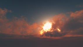 Härlig gryning - sol till och med stackmolnmoln royaltyfri bild