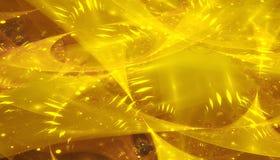 Härlig gul bakgrund av glödande partiklar och linjer med djup av fältet och bokeh 3d illustrationen, 3d framför stock illustrationer