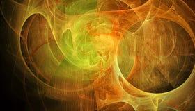 Härlig guld- bakgrund av glödande partiklar och linjer med djup av fältet och bokeh 3d illustrationen, 3d framför royaltyfri illustrationer