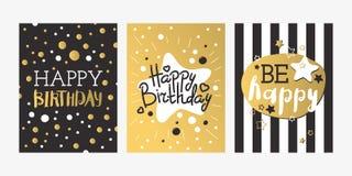 Härlig guld för design för födelsedaginbjudankort och garnering för hälsning för svartfärgvektor royaltyfri illustrationer