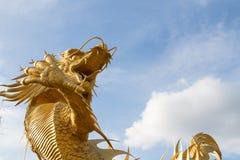Härlig guld- makt för drakestatyhimmel anmärker thailändsk teckenreligionkines arkivfoto