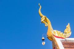 Härlig guld- naga skulpterar på det kyrkliga taket under bakgrunden för blå himmel på Wat Phra That Doi Tung, en av som är motsäg Royaltyfri Fotografi