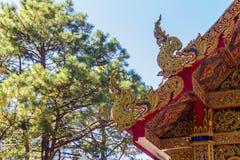 Härlig guld- naga skulpterar på det kyrkliga taket under bakgrunden för blå himmel på Wat Phra That Doi Tung, en av som är motsäg Royaltyfri Bild